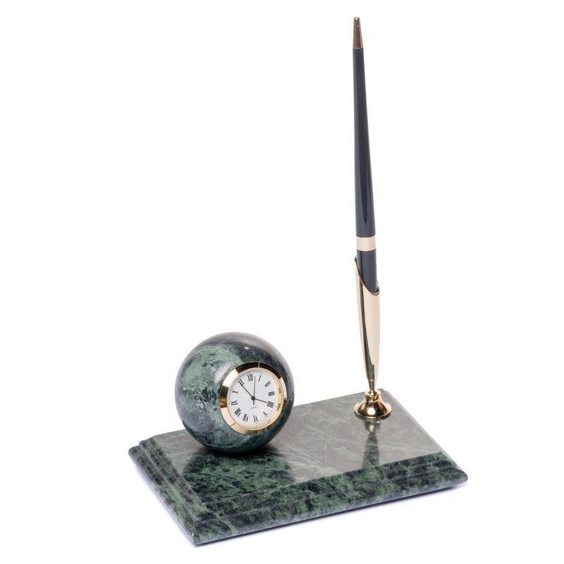 Мраморная настольная подставка для ручки с часами 16х10 см BST 540019