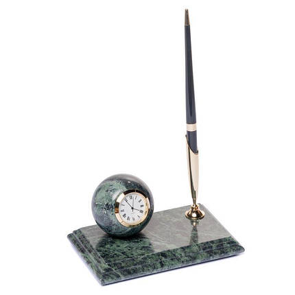 Мраморная настольная подставка для ручки с часами 16х10 см BST 540019, фото 2