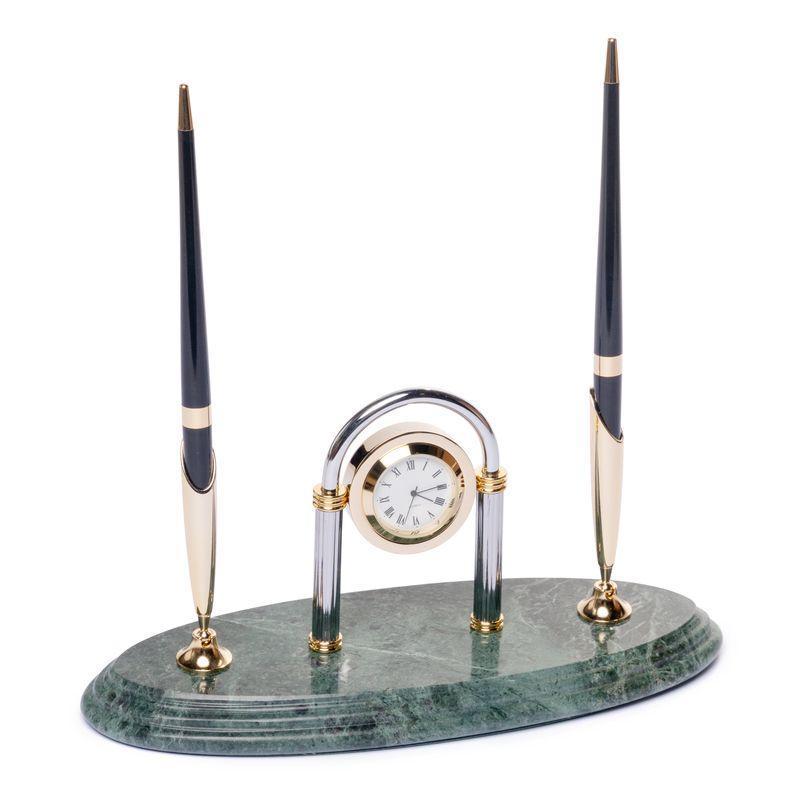 Підставка настільна для ручок з годинником мармурова 24х10 см BST 540038