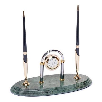 Підставка настільна для ручок з годинником мармурова 24х10 см BST 540038, фото 2