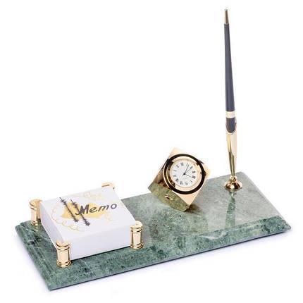 Настольная подставка с часами мраморная для ручки и с фиксатором для бумаг 24х12см BST 540070, фото 2