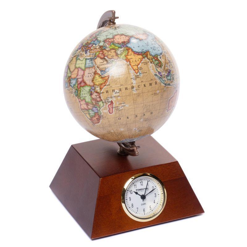 Глобус з годинником 110 мм піраміда (рос.) BST 540077