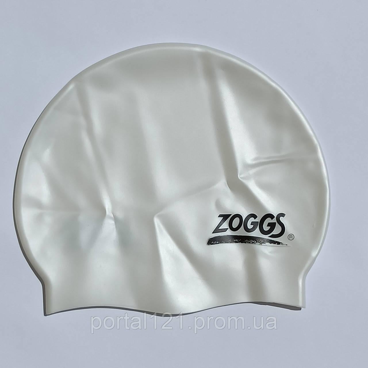 Шапочка для плавання доросла Zoggs Silicone Swim Cap біла