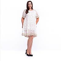 Винтажное кружевное летнее женское белое платье с вязанной оборкой 7824 L/XL