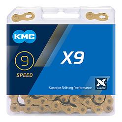 Ланцюг KMC X9 Gold для 9 швидкісних трансмісій велосипеда зносостійка