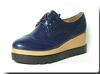 Туфли лаковыедля девочки р. 41 L&M 999 синие, фото 1