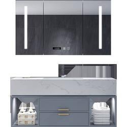 Комплект для ванной комнаты. Умный шкаф сзеркалом + мраморная раковина с тумбой. Модель RD-9076