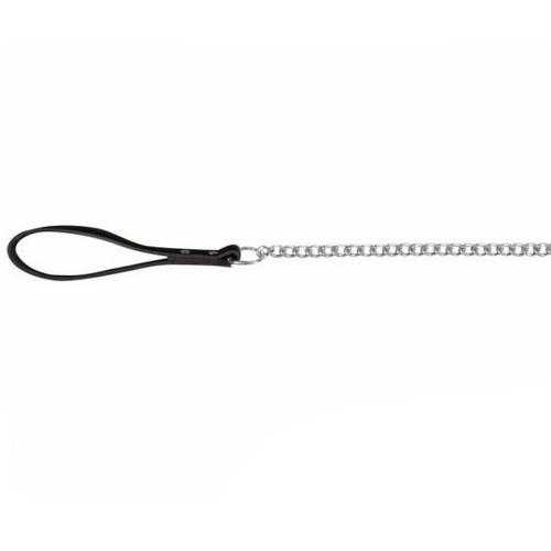 Поводок-цепь Trixie металл, с кожаной ручкой, для собак, 1 м х 4 мм, черный