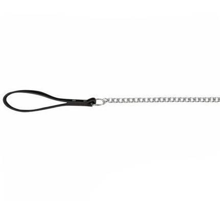 Поводок-цепь Trixie металл, с кожаной ручкой, для собак, 1 м х 4 мм, черный, фото 2