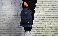 Рюкзак Reebok міської стильний шкіряне дно чорне, колір синій, фото 1