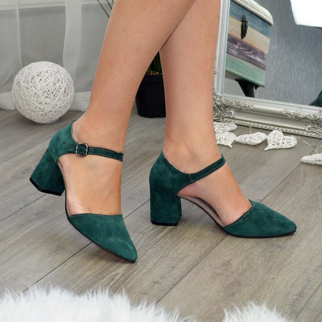 Туфли женские замшевые на невысоком устойчивом каблуке, цвет зеленый