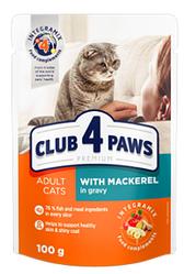 Корм пауч Клуб 4 Лапы PREMIUM для взрослых кошек макрель в соусе, 100 г
