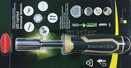 Рукоятка с подстветкой 4LED и универсальным захватом болтов и гаек (4-15мм, L-220мм), в блистере