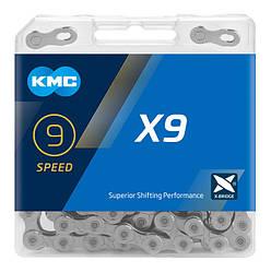 Цепь KMC X9 Silver для 9 скоростных трансмиссий велосипеда