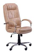 Зручне офісне комп'ютерне крісло на колесиках Марсель Хром Мадрас голд беж
