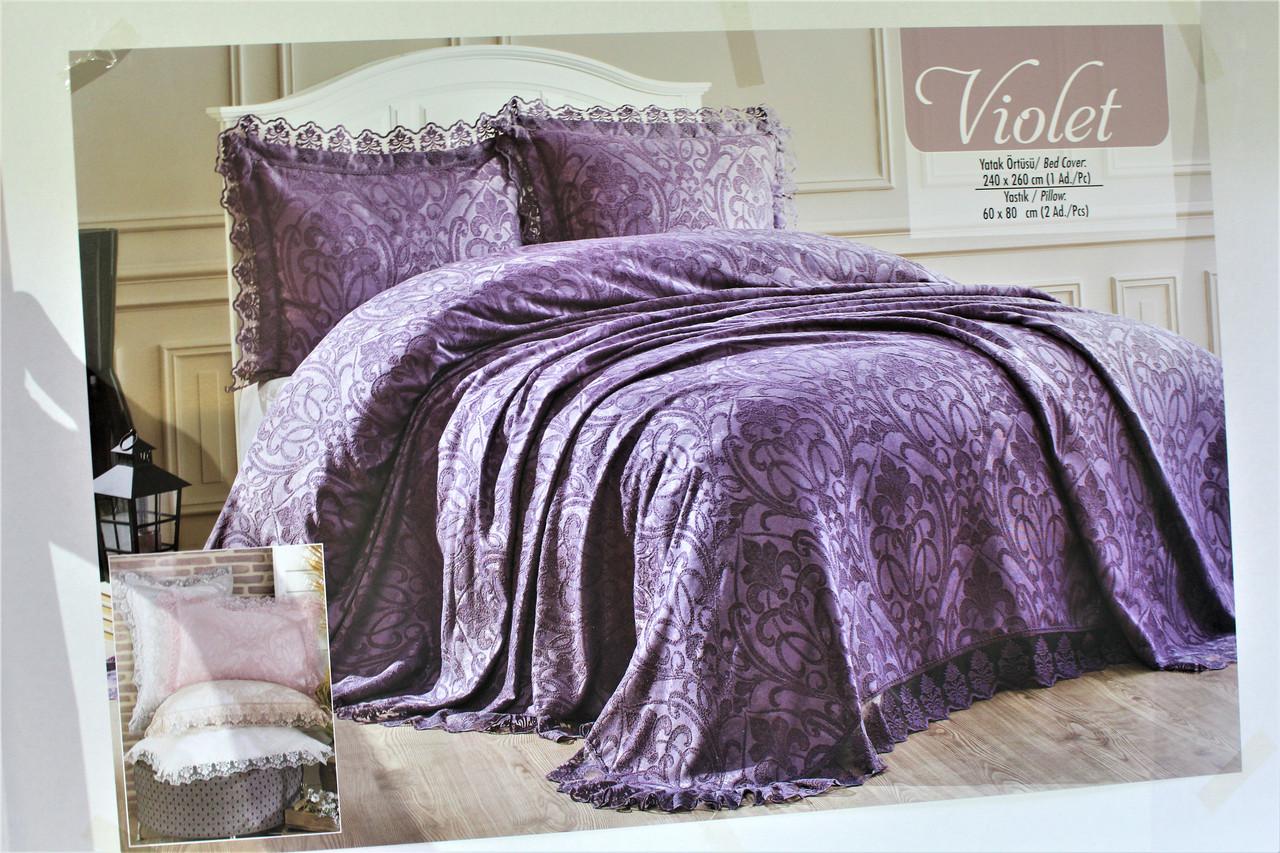 Комплект покрывала и наволочек двухспальное евро цвет молочный Violet