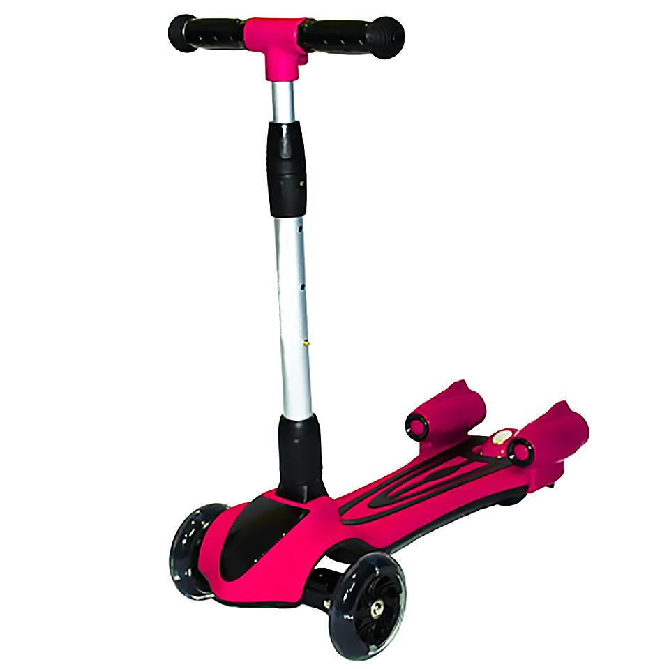"""Детский трёхколесный самокат Scooter """"FEILE"""" с светящимися колесами и музикой, Розовый"""