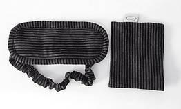 Маска для сна из хлопка Deco в полоску с чехлом Черно-серый 969-02, КОД: 1806138