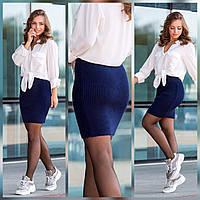 Спідниця жіноча в'язана укорочена розміри 42-50, колір уточнюйте при замовленні, фото 1