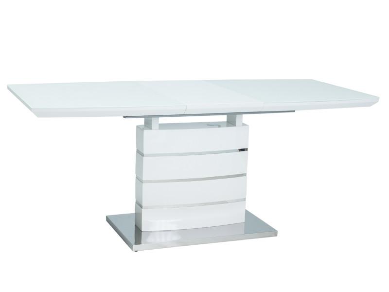 Стол кухонный обеденный на кухню столовый раскладной белый LEONARDO 160х90(220) (Signal)