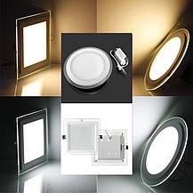Светодиодный встраиваемый светильник круг стекло 15W 4200K Clara-15 Horoz Electric HL689LG, фото 3