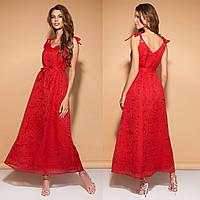 """Платье красное женское длинное летнее размеры 42-54 """"Астория"""""""
