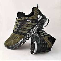 Кроссовки мужские хаки в стиле Adidas (адидас) из текстиля. Кросівки чоловічі хакі