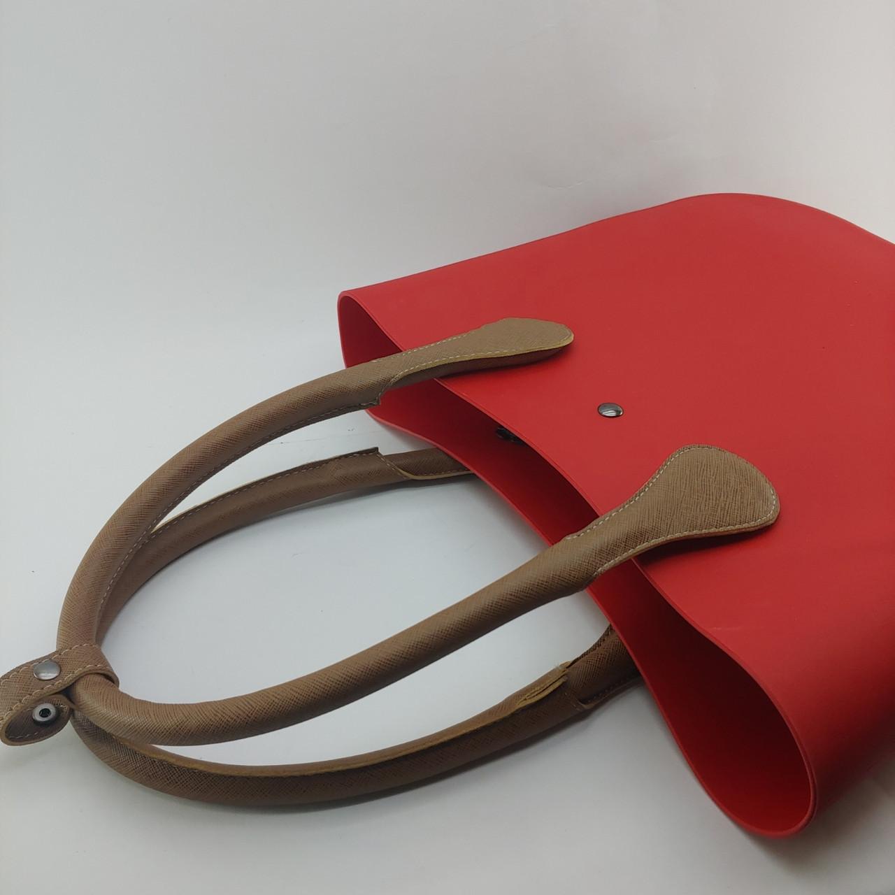 Ручки для сумки- конструктора из каучука темнобежевая.