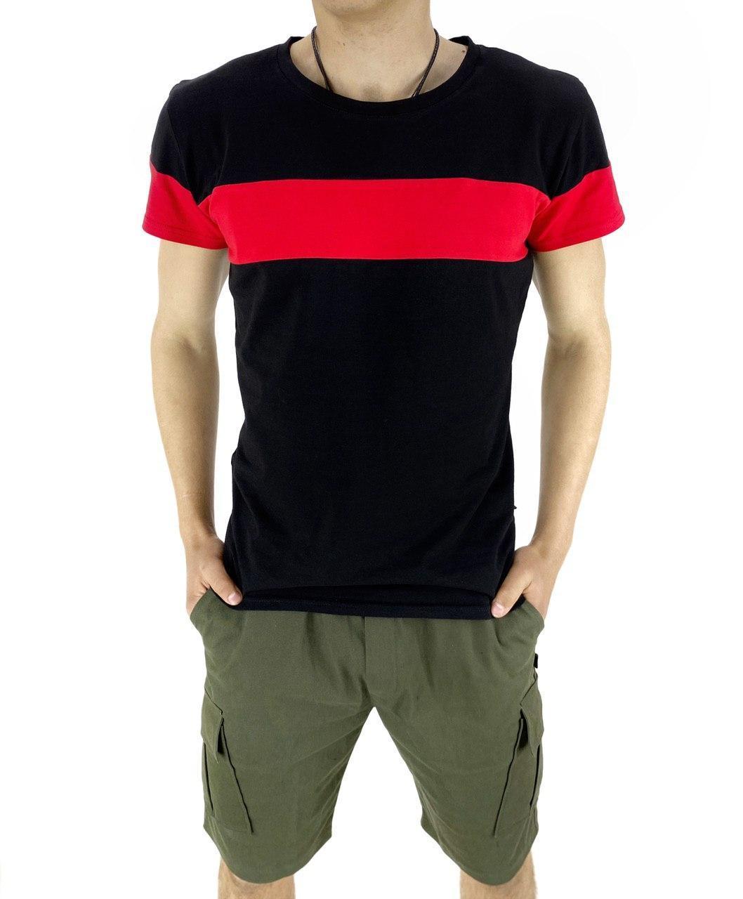 """Комплект Футболка """"Color Stripe"""" черная - красная + Шорты Miami хаки Intruder"""