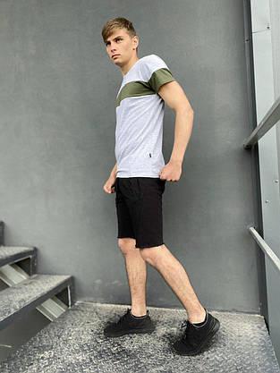 """Комплект летний Футболка """"Color Stripe"""" серая- хаки + Шорты трикотажные черные Intruder, фото 3"""