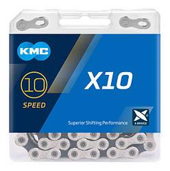 Ланцюг KMC X10 Silver/Black для 10 швидкісних трансмісій велосипеда