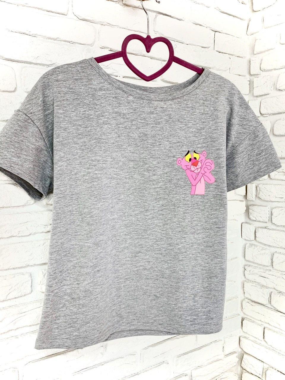 Женская футболка хлопок серая с принтом Pink panther розовая пантера