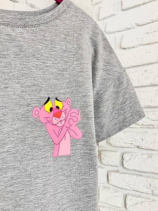 Женская футболка хлопок серая с принтом Pink panther розовая пантера, фото 2
