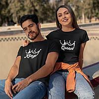 "Парные футболки для парня и девушки ""King / Queen"""