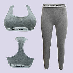 Комплект для фитнеса CK, топ + штаны, размер S, коттон, серый, 20018887