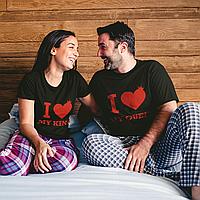 "Парные футболки для парня и девушки ""I love King /I love Queen"""