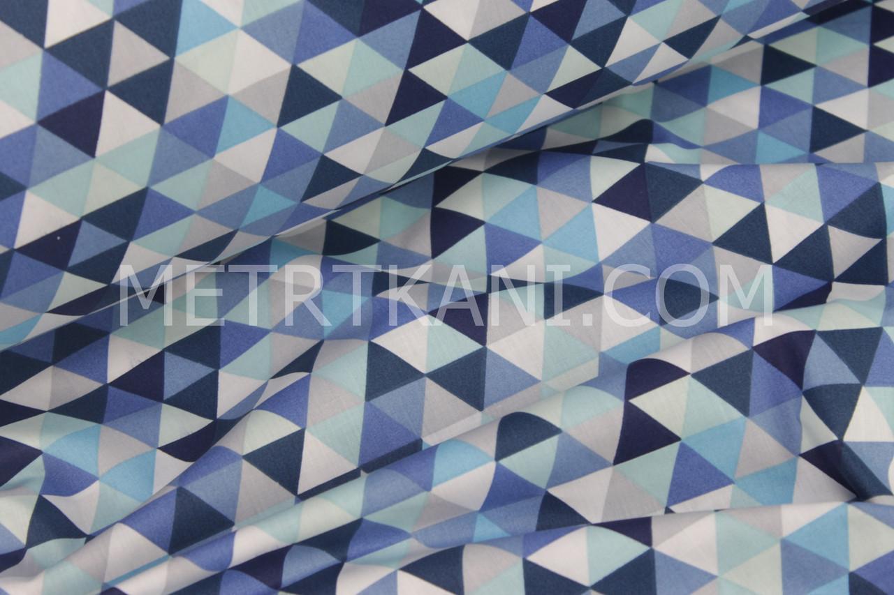 """Хлопковая ткань """"Треугольники-мозаика"""" синие, голубе и мятными  № 1069"""