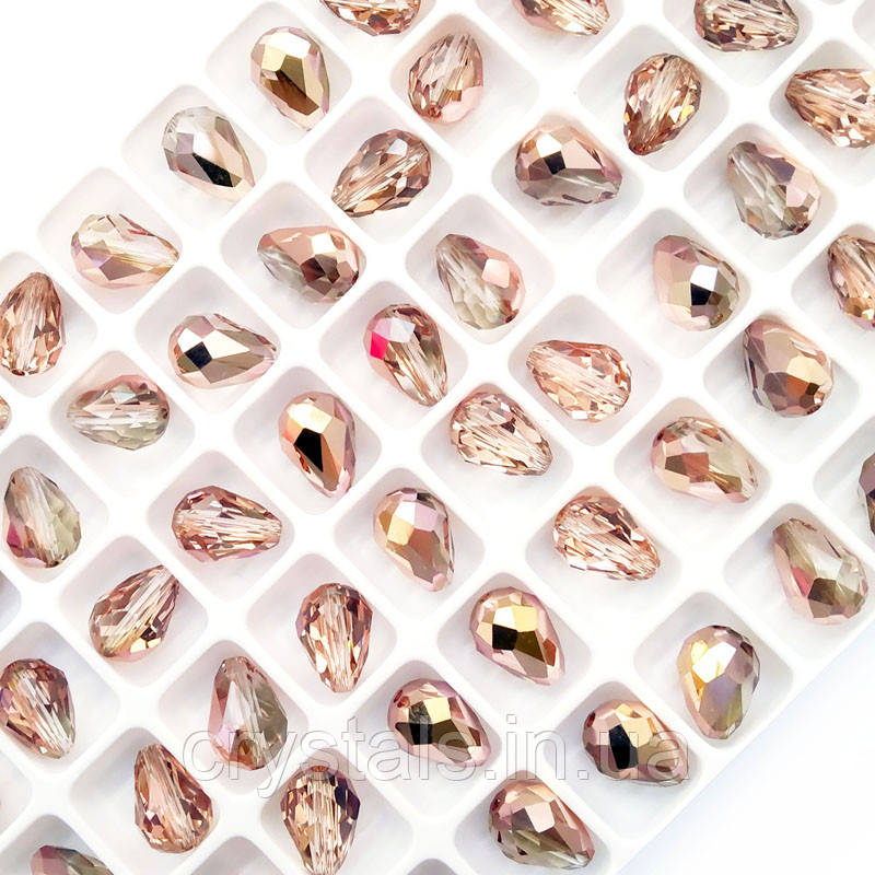Хрустальные бусины капли Preciosa (Чехия) 9х6 мм Crystal Capri Gold