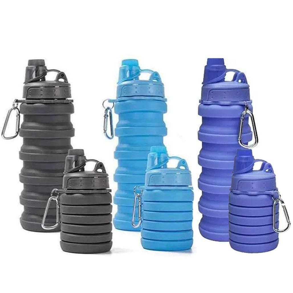 Силиконовая складная бутылка 500 мл / Бутылка трансформер для воды