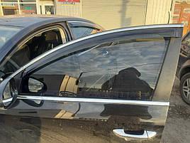Дефлектори вікон (вітровики) з хром накладкою Volkswagen Passat B7 2012-2015 рр. комбі (HIC)