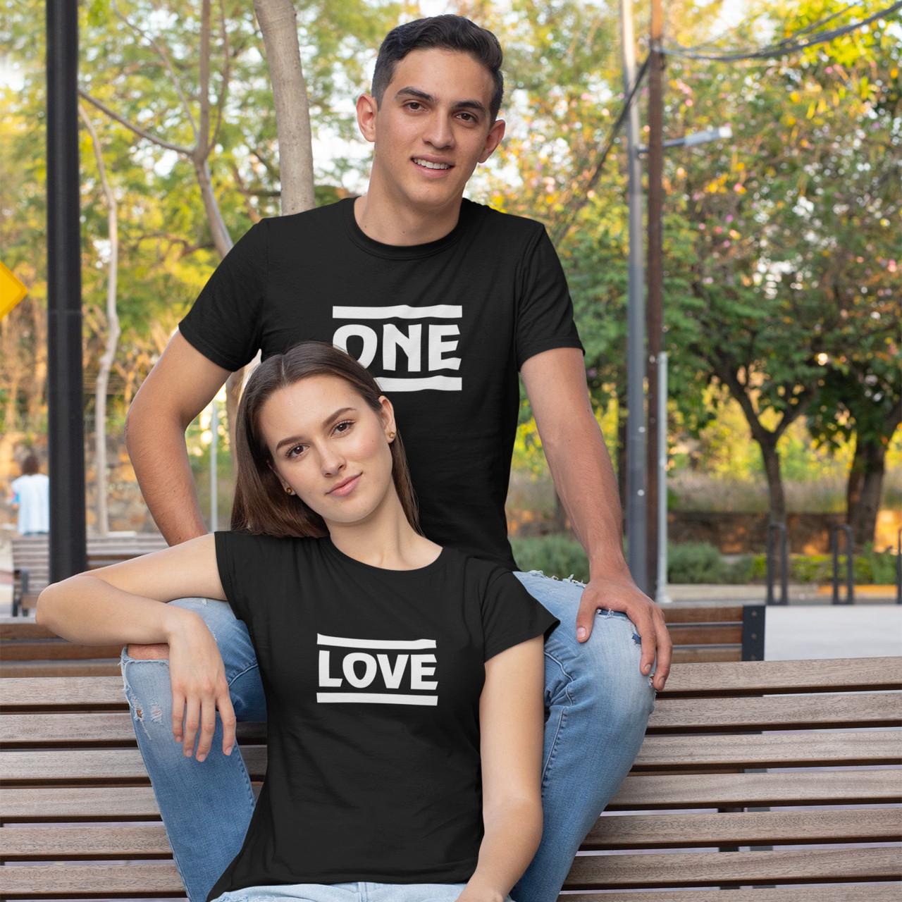 """Парні футболки для закоханих  """"ONE / LOVE"""""""