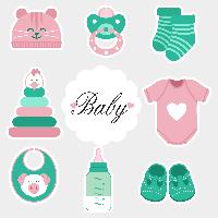Фотобутафория Baby shower Розово-зеленая 9 элементов