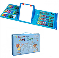Набор для рисования и творчества в чемоданчике с мольбертом Super Mega Art Set 208 предметов   Синий