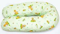"""Наволочка на подушку для беременных и кормления ОП-15 OLVI с рисунком """"Ослик на салатовом"""