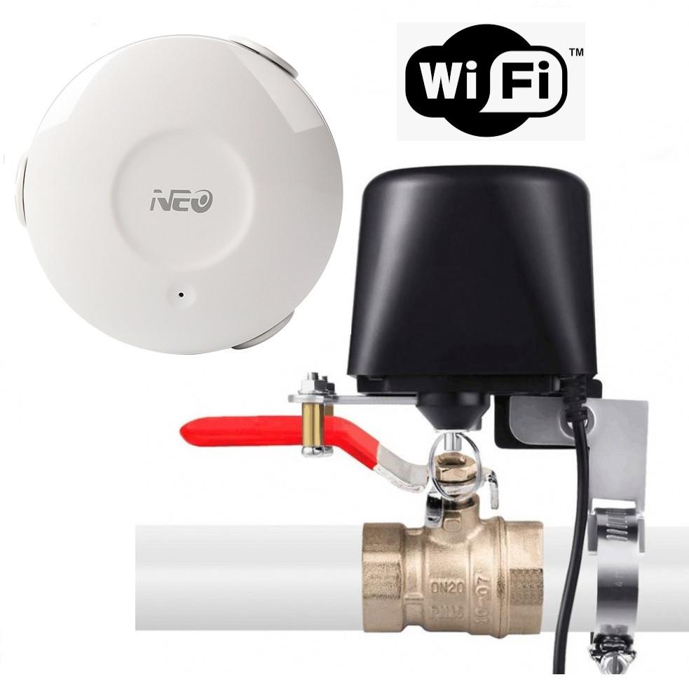 Умный Wi-Fi электропривод для шарового крана в комлекте с wifi датчик затопления Tuya