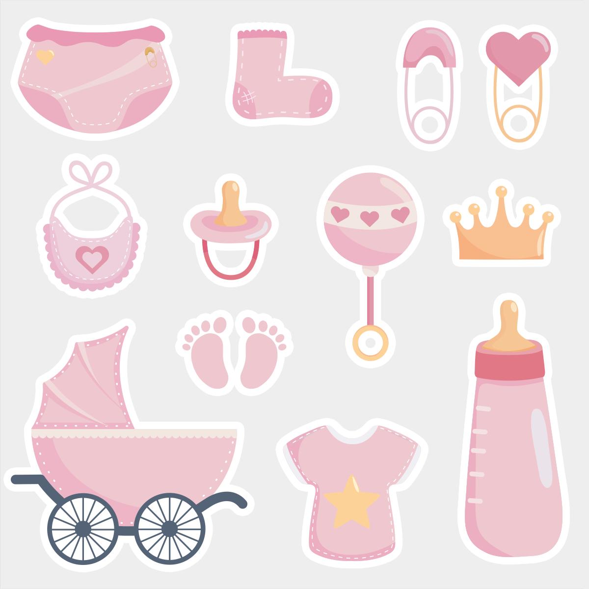 Фотобутафория Baby shower Розовая 12 элементов
