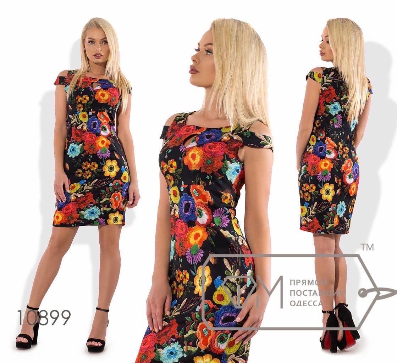 Летнее платье полуприталенное в цветочный принт, 2цвета, Р-р. S; M; L Код 476Д