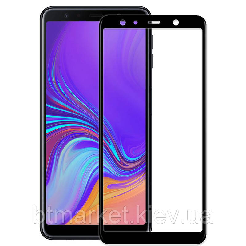 Защитное стекло Full screen PowerPlant для Samsung Galaxy A7 (2018), Black