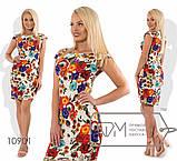 Летнее платье полуприталенное в цветочный принт, 2цвета, Р-р. S; M; L Код 476Д, фото 2