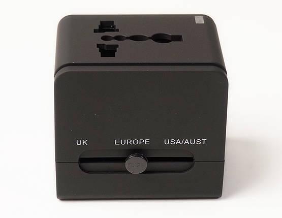 Универсальный дорожный сетевой переходник PowerPlant c USB 220V 6A, фото 2